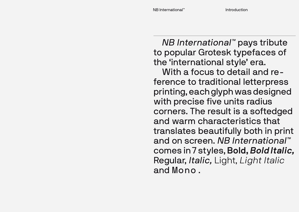 Neubau / NB International™, Specimen